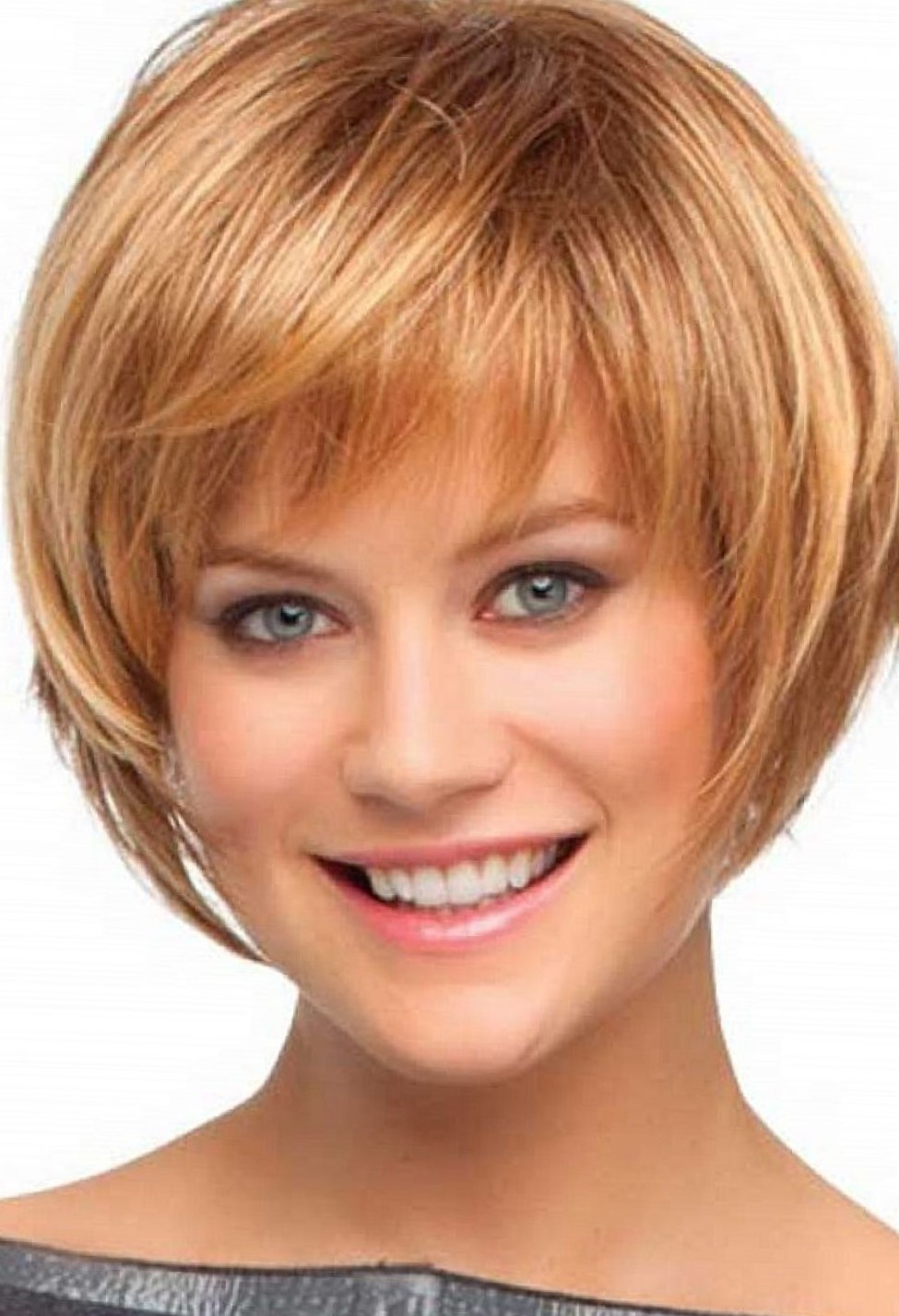 Hairstyles For Short Layered Hair With Side Bangs : Light Brown Layered Bob Hairstyles With Bangs For Short Hair