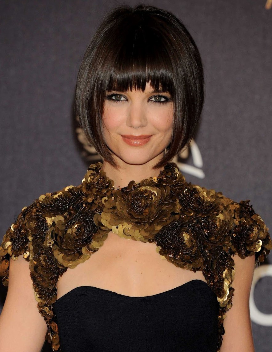 Katie Holmes Short Bob Haircut with Bangs