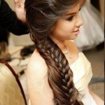 Long Braided Hairstyle with Side Swept Fringe