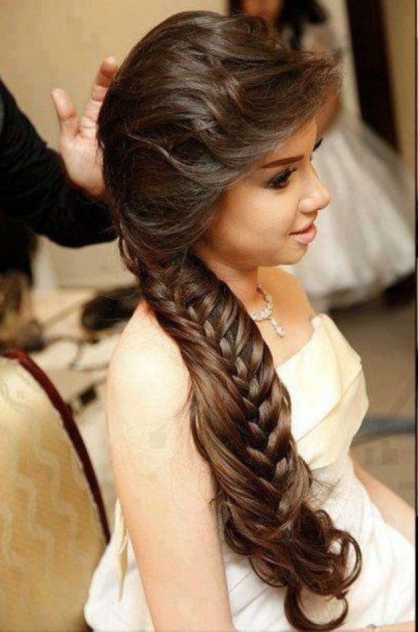 Hairstyles Braided : Long Braided Hairstyle with Side Swept Fringe Talk Hairstyles
